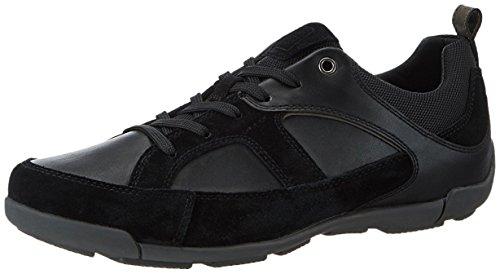 Geox Herrenschuhe U720HC U Damian Sportlicher Herren Sneaker, Schwarz, 45 EU (Leder-hi-low Rock)