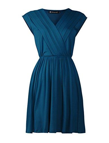 Allegra K Women Crossover Deep V Neck Elastic Waist Dress Dark Blue XL