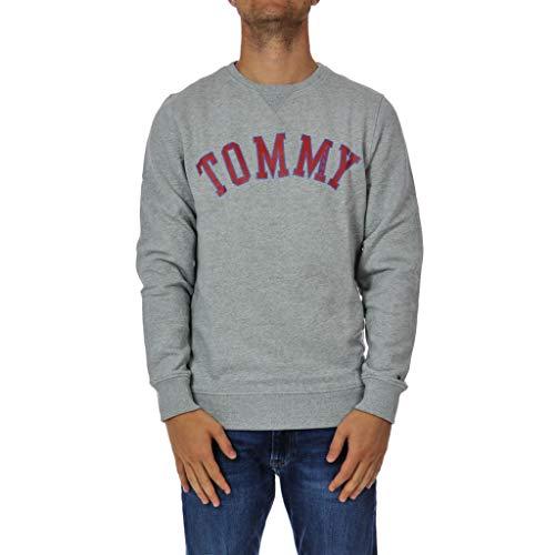 Tommy Hilfiger Herren Crewneck Pullover Sweatshirt, Light Grey Heather Graphic, Mittel City Crewneck Sweatshirts