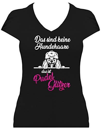 BlingelingShirts Shirt Damen Glitzer Pudel Das sind Keine Hundehaare das ist Pudel Glitzer Poodle, T-Shirt, Grösse XXL, schwarz Druck weiß und pink GL -