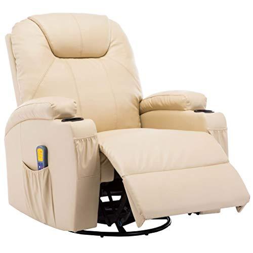 Festnight- Elektrischer Massagesessel mit 8 Massagepunkten Schaukelsessel Automatikprogramme Knetmassage Klopfmassage Kompression Kunstleder Creme