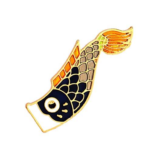Demino Hemd-Jacken-Cartoon-Fisch-Entwurf Brosche Drip Öl-Zink-Legierung-Abzeichen-Beutel-Rucksack-Dekorationen 1 1.5 * 4.5cm (Fisch öl Ergänzungen)
