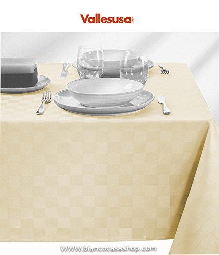 TOVAGLIA in puro cotone trattamento ANTIMACCHIA di Vallesusa Art. DAMIER AVANTGARDE Var. AVORIO 180*270 - senza tovaglioli