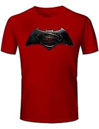Men's Batman Vs Superman Logo Printed T-shirt - Batman Vs Superman Graphics T Shirt - Batman Vs Superman Red
