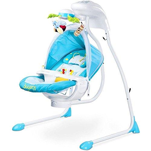 Elektrische DeLuxe Babyschaukel Modell Bugies Käferdesign 3 Schaukelrichtungen mit Musik und Geräuschen Licht Mobile verstellbarer Sitz Timer BLAU inklusive Moskitonetz Jungen