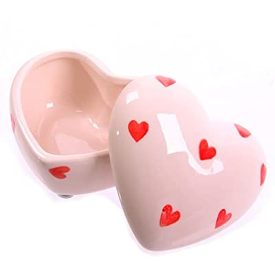 Ceramic Heart Shaped Trinket Box White with Red Hearts - 6cm
