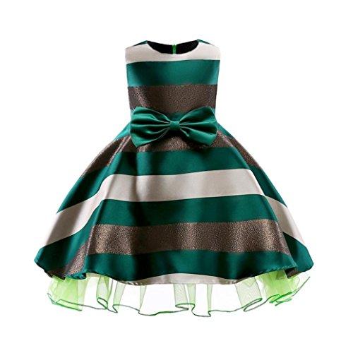 Prinzessin Kleider Kostüm - Sommerkleider Mädchen, Longra Kinder Kleider Ärmellos Gestreift Kleider Festliche Kleider Elegante Brautjungfern Hochzeit Partykleid (Green, 110CM 4Jahre)
