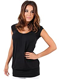 KRISP® Damen Basic Elegantes Longshirt Oberteil Große Größen Shirts Kurzarm Bluse