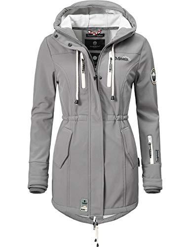 Marikoo Mountain Damen Softshell-Jacke Outdoorjacke Zimtzicke Grau Gr. XL