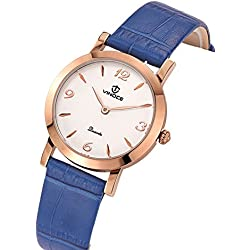 Ladies leather strap watch/Quartz water resistant watch/Simple slim watch-E