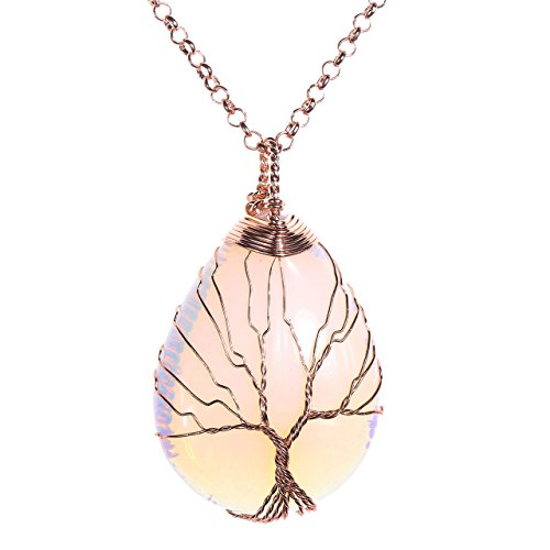 JOVIVI Edelstein Schmuck Wire Wrap Baum des Lebens Tropfen Stein Anhänger Pandent mit 80cm Kette Lebensbaum Halskette (Synthetische Opal)