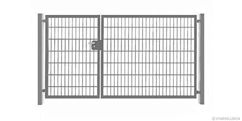Einfahrtstor 400cm x 103cm 2-flügelig asymmetrisch Verzinkt Zink Tor Hoftor Doppeltor Gartentor Auffahrtstor Doppelflügeltor inkl Pfosten NEU