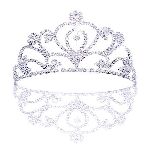 sin Krone Rhinestone Königin Diadem für Kinder und Erwachsene, Metall Haarschmuck Stirnband Strass Tiara für Hochzeit Geburtstag Party Prom Braut Brautjungfern, Silber ()