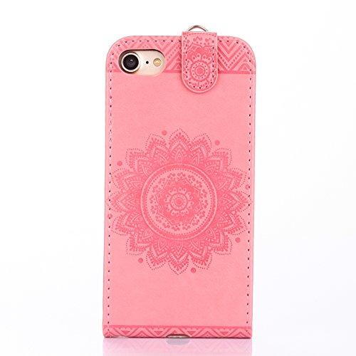 Hülle für iPhone 7, Tasche für iPhone 7, Case Cover für iPhone 7, ISAKEN Blume Schmetterling Muster PU Leder Flip Cover Case Ledertasche Handyhülle Tasche Case Etui Schutzhülle Hülle mit Handschlaufe  Dessin Blume Pink