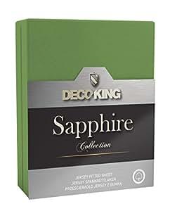 DecoKing 19856 Wasserbett Spannbettlaken 180 x 200 - 200 x 220 cm Jersey Baumwolle Spannbetttuch Sapphire Collection, grün