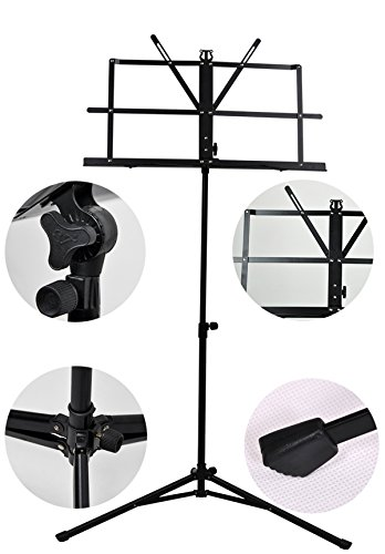 Adjustable Foldable Music Script Sheet Note Stand Score Holder Mount Tripod Bag iron, by LC Prime -