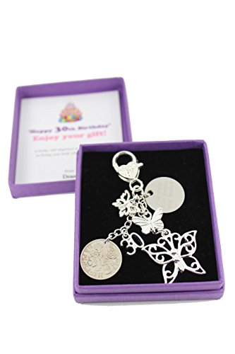 Personalised Happy 30th Birthday Lucky Sixpence Butterfly Keepsake Gift (With Engraved Charm)