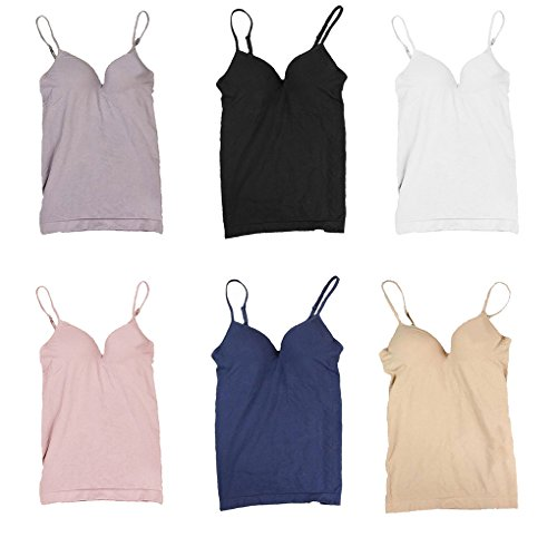 Masterein Femmes Modal V-neck rembourr¨¦ r¨¦glable sangles sans soudure Bra Tank Top Camisole Undershirts Blanc
