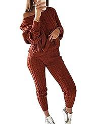 ebb05036a0 Mujer Suéter de Punto Otoño Invierno Casual Conjunto Manga Larga Pullover +  Slim Fit Pantalones Lápiz