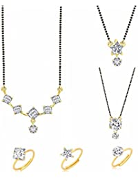Archi Collection Jewellery Combo Of Gold & Rhodium Plated Mangalsutra Pendant With Chain & Ring Set For Women