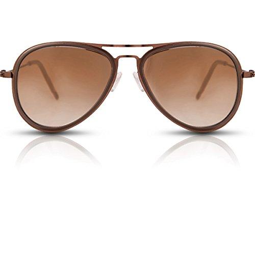 Oramics Klassische Pilotenbrille Unisex braun Sonnenbrille Fliegerbrille (Sonnenbrille Jahre Achtziger)