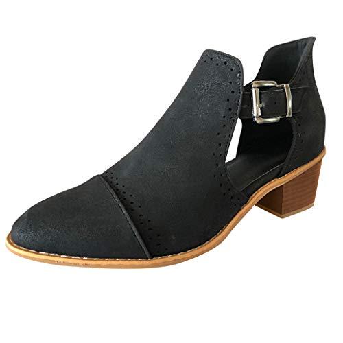 Cowboy-cut-outs (Mymyguoe Stiefeletten Damen Chelsea Boots Ankle Leder Blockabsatz Kurzschaft Stiefel Absatz Schuhe Winter Elegant Kurze Stiefel Mode Blockabsatz Boot)