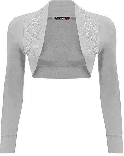 WearAll - alzata Bolero Top a maniche lunghe donna easybiz - 13 colori - dimensioni 36-42 Grigio chiaro