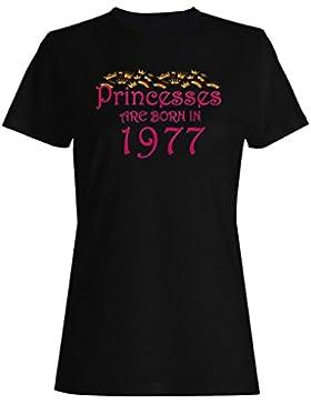 Las princesas nacen en 1977 camiseta de las mujeres y60f