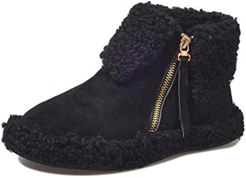 MEILI Zapatos de mujer, botas de mujer, botas Martin, además de cachemira, cálido, plano, botas, casual, moda,...