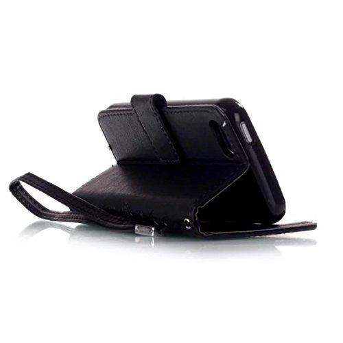 iPhone 5S Coque, iPhone SE Coque, Lifeturt [ Blanc ] Leather Case Wallet Flip Protective Cover Protector, Etui de Protection PU Cuir Portefeuille Coque Housse Case Cover Coquille Couverture avec Fonct E02-Noir