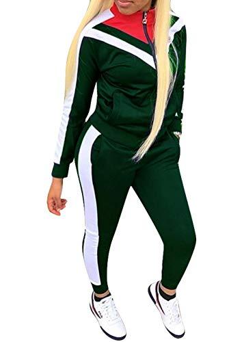 ORANDESIGNE Damen Mode Streifen Trainingsanzug Mädchen Lange Ärmel Zipper Top + Lange Hose Sportswear 2 Stück Bekleidungsset Sport Dunkelgrün DE 36