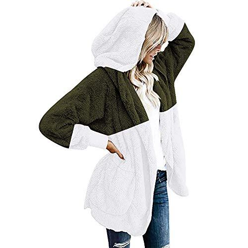 Damen Kapuzenjacke Mit Kapuze Strickjacke Pullover Frauen Taschen Mantel Jacke Outwear Tasche Winterjacke Parka Cardigan üBergangsjacke Outdoorjacke Coat Bluse Tops Shirt(Armeegrün,M)