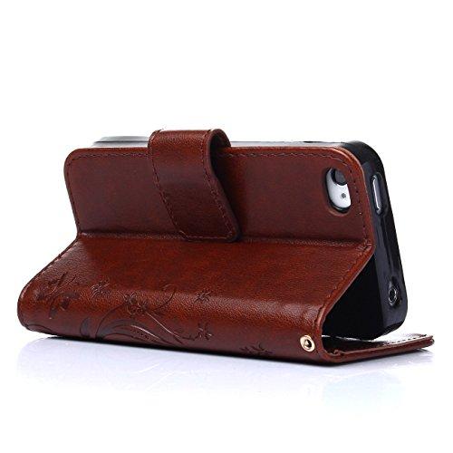 MOONCASE iPhone SE Hülle Blume Premium PU Leder Schutzhülle für iPhone SE / 5S/ 5 Bookstyle Tasche Schale TPU Case mit Standfunktion Teal Rot