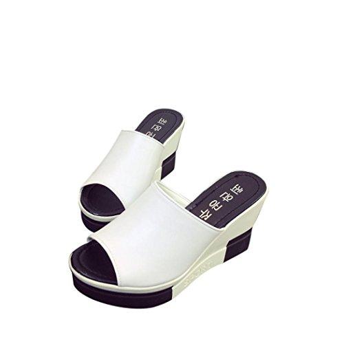 Fisch Mund Sandaletten Goosun Frauen Sommer Fashion Schöne Schuhe Sandalen mit Keilabsatz Schuhe Peep-Toe Hausschuhe Römisch Flip-Flops Mokassins Hüttenschuhe Hausstiefel Sommerschuhe (40, Weiß)