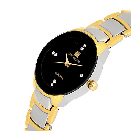 IIK Collection (IIK-1089W) Gold & Silver Coloured Ceramic Band , Analog Wrist Watch For Women by KT Fashions