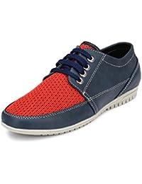 Peponi Men's Faux Leather Blue Perfect Regular Men's Faux Leather Casual Shoes