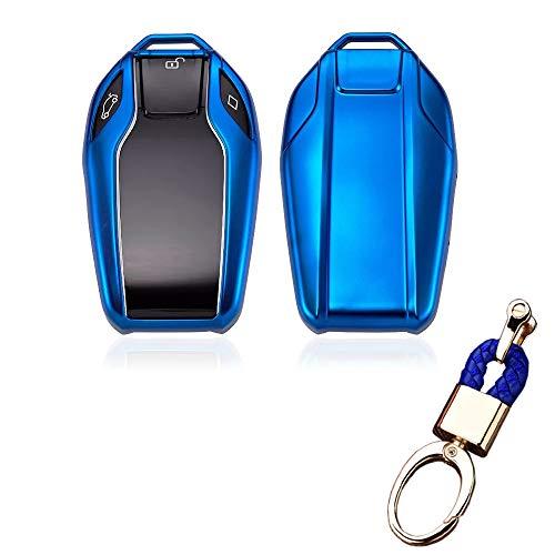 Royalfox(TM) Soft TPU Smart Display LCD Fernbedienung Schlüsselhülle Cover für BMW 5 Series (2018) 528Li 530Li 540Li,BMW 2016 2017 2018 7er Serie G11 G12, blau G11 Lcd
