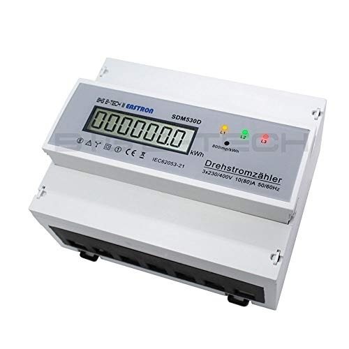 digitaler LCD Drehstromzähler/Stromzähler für Hutschiene mit S0 400V 80A