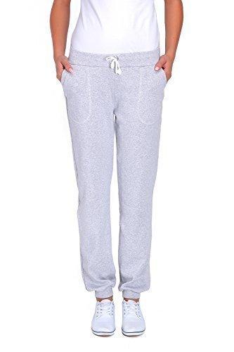 futuro fashion Damen Sport volle Länge Fleece Jogginghose mit Taschen mit Manschetten gym-hosen Joggen DK - Aschgrau, 36 (Kordelzug Voll Elastischer)