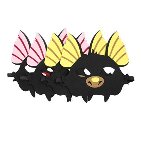 Kostüm Ohren Fledermaus - Amosfun 4 stücke Halloween Tier Maske Fledermaus Muster Dress up Maske Cosplay kostüm zubehör (2 gelbe Ohren und 2 rosa Ohren)