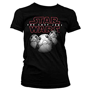 Star Wars t24370 X XL Episodio 8 Porgs Girlie Camiseta, Color Blanco