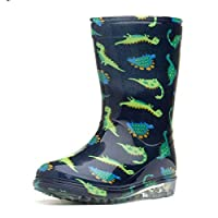 Zone - Kids Dinosaur Navy & Green Wellington Boot