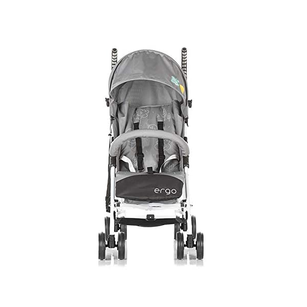 Chipolino pram Ergo 2018, Foldable, 5-Point Safety Belt Front Bracket, Colour:Grey Chipolino Backrest can be adjusted in 2 seat positions by means of belt clip easy to fold; extra long folding top with large visor Handle for easy carrying of the pram 2