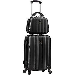 Valise cabine rigide 4 roues et Vanity case assorti-Madisson (Noir)