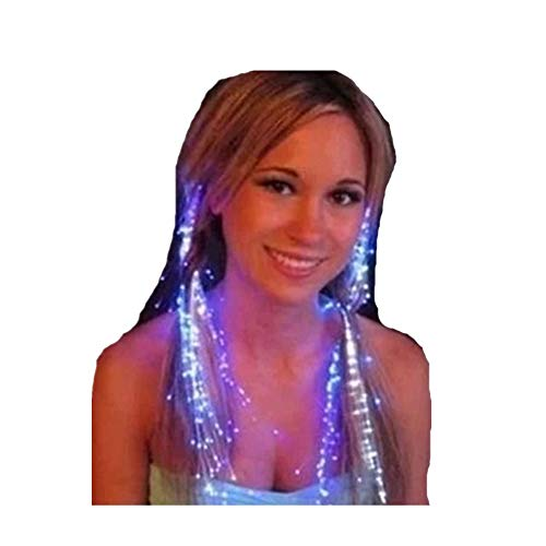 Drawihi 2 Stücke Luminous Zöpfe LED Flash-Light Farbe Frauen Girl 's Haar Party Focus stahlendes Haar Perücke Sicherheit (View amazon detail page) (Up Light Perücke)