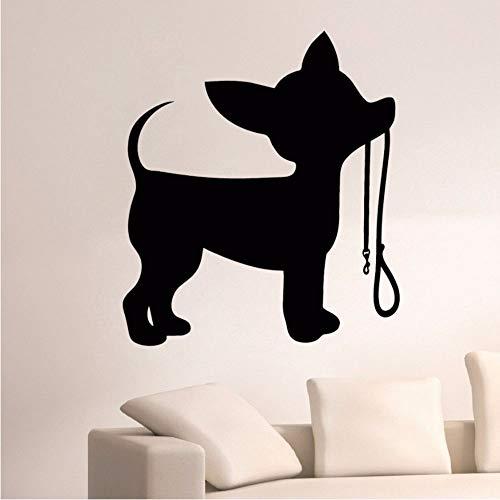Leine Wandaufkleber Home Interior Dekoration Silhouette Welpen Vinyl Wandtattoo Chihuahua Kunst Aufkleber Niedlichen Tier 56 * 64 cm ()