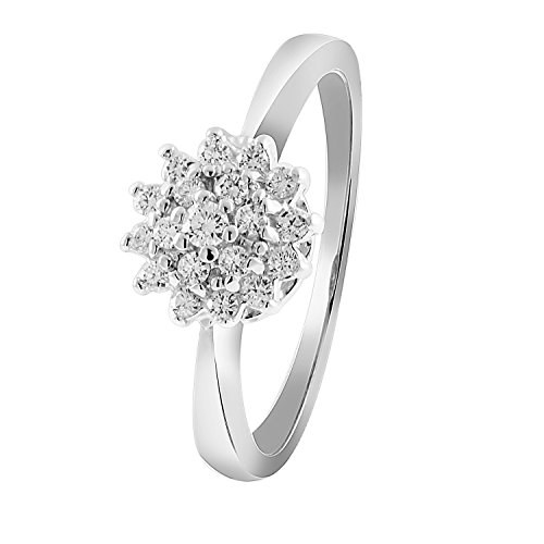 Diamond Line Diamant-Ring Damen 585 Weißgold mit 19 Brillianten 0.25 ct. Lupenrein
