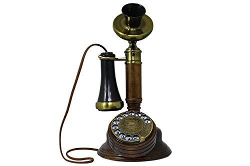 Opis 1921 cable - Modell C - Retro Telefon aus Holz, schwarzem und mit Messing überzogenem Plastik - mit echter, rotierender Wählscheibe und Metallklingel - 2