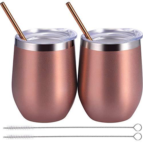Boao 2 Sets 12 Unzen Edelstahl Stielloses Weinglas, Unzerbrechliche Doppelwandige Isolierbecher mit Deckel für Wein, Kaffee, Einschließlich 2 Stück Strohhalme und 2 Stück Pinsel (Rose Gold) (Gold Rose Gläser Wein)