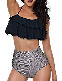 1c7328cc3c Vertvie Maillot de Bain 2 Pieces Femme Plage Bikini Set à Volants Vintage  Maillot de Bain